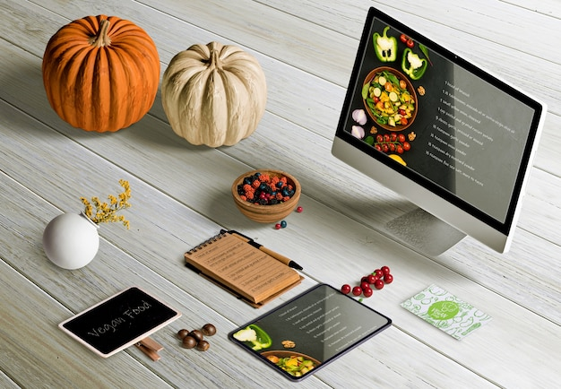 High angle of thanksgiving scene creator on wooden table