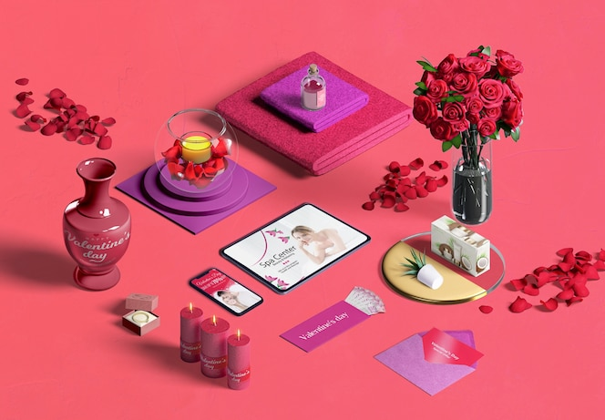 High angle  of valentine's day concept