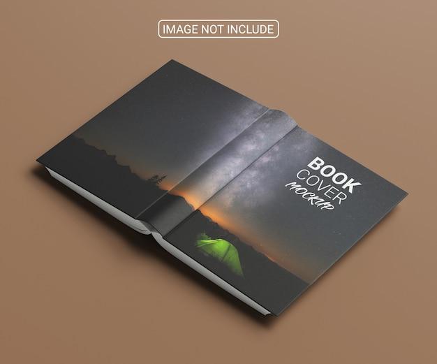 本の表紙のモックアップの高角度ビュー