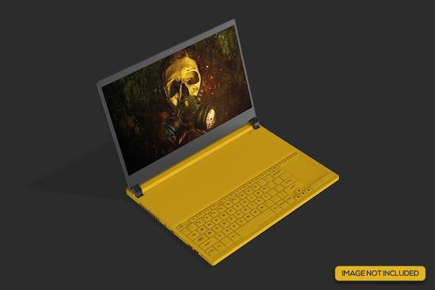Макет игрового ноутбука под высоким углом