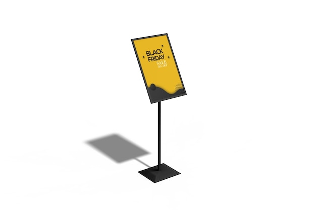정보 스탠드 포스터 모형의 높은 각도보기