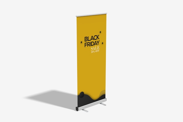 High angle view of roll up banner mockup