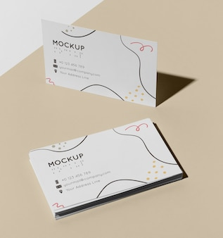 High angle of visiting card mock-up with braille
