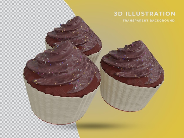 High quality 3d rendered three chocolate cake photo
