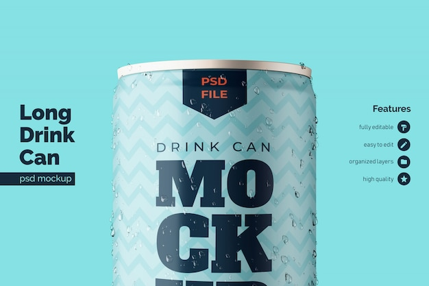 High quality aluminium metal beverage can premium mockups template in close up front view