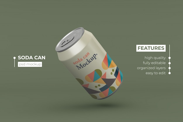 High quality aluminum drink can mockup design