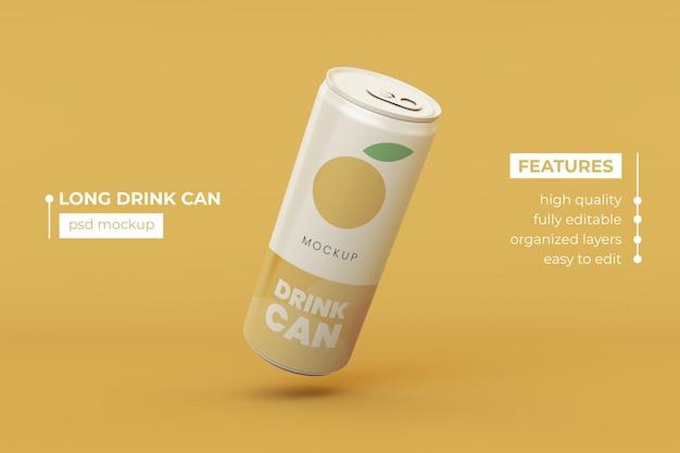 High quality long aluminum drink can mock up design template premium psd