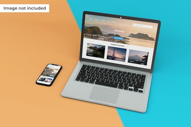 高品質のモバイルデバイスとラップトップ画面のモックアップ