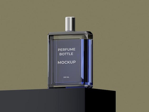 高品質のプレミアムブラックガラス香水瓶モックアップデザイン