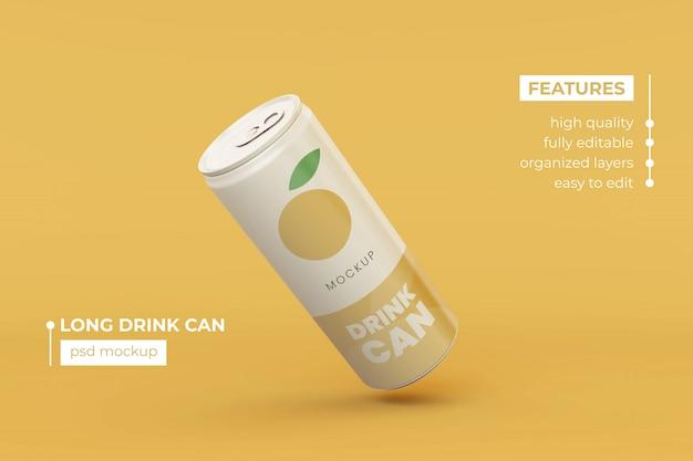High quality slim aluminum drink can mock up design template premium psd