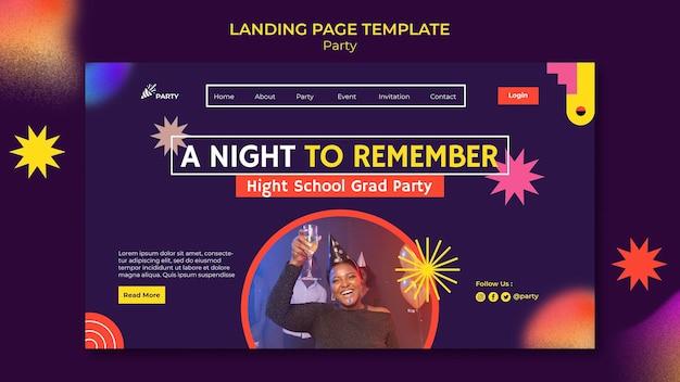 Modello di pagina di destinazione della festa di laurea del liceo