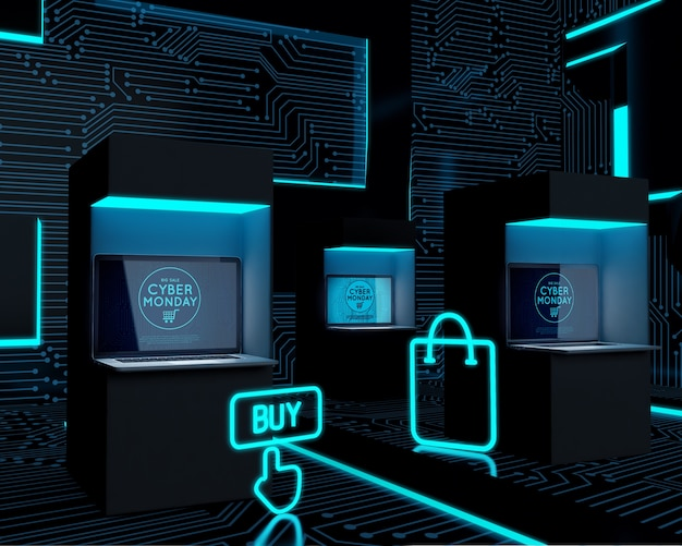 Dispositivi elettronici di alta tecnologia esposti per la vendita