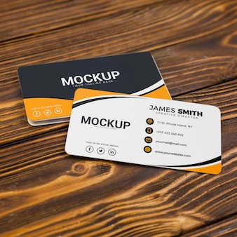 High view back and front business card mock-up