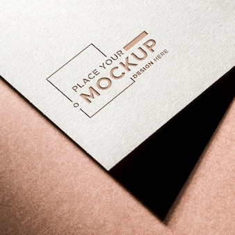 High view business card mock-up and shadow