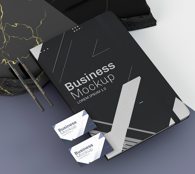 High view business cards and flyer