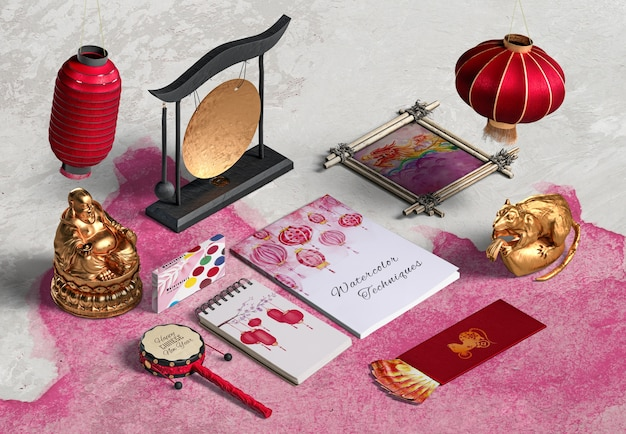 High view chinese new year accessories and notebook