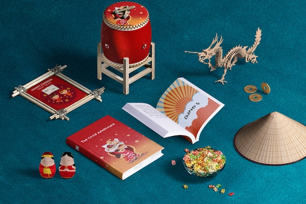 High view chinese new year decoration and books