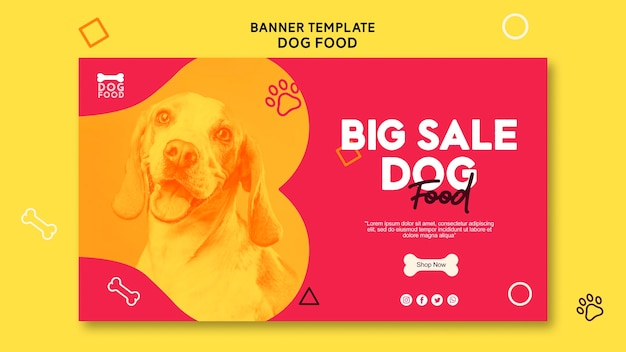 High view cute puppy banner template