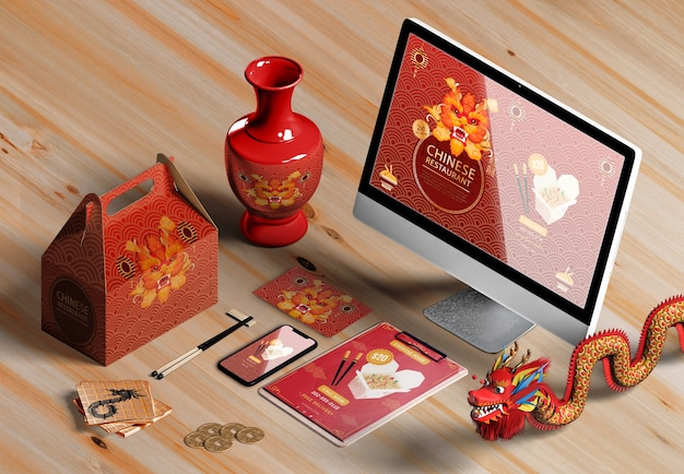 High view digital devices and gifts for chinese new year
