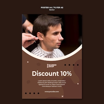 High view man at barber shop poster template
