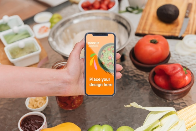 High view mobile phone and healthy food mock-up