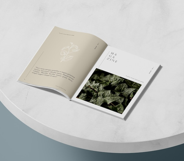 High view nature editorial magazine mock-up