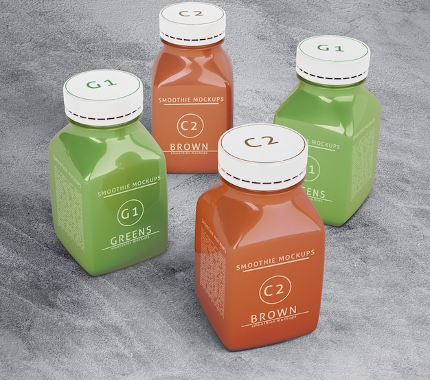High view plastic bottles with different fruit or vegetable juices