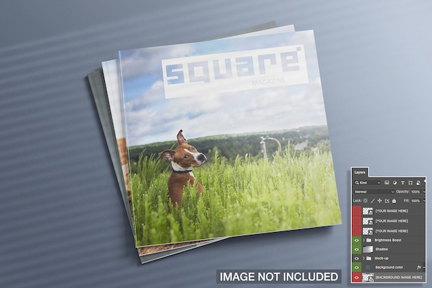 High view of three closed square magazines mockup