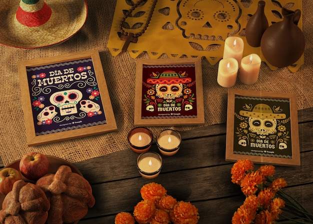 High view variety of dia de muertos mock-up with skull