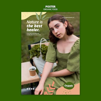 ハイビューの女性と野菜のポスターテンプレート