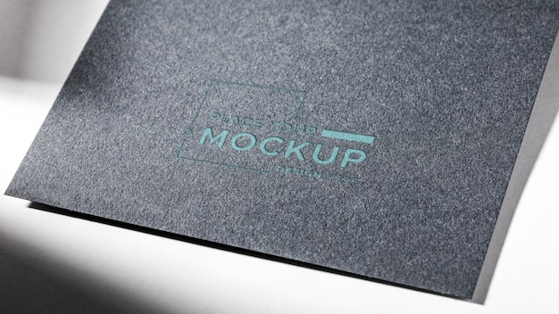 High view макет визитной карточки серого цвета