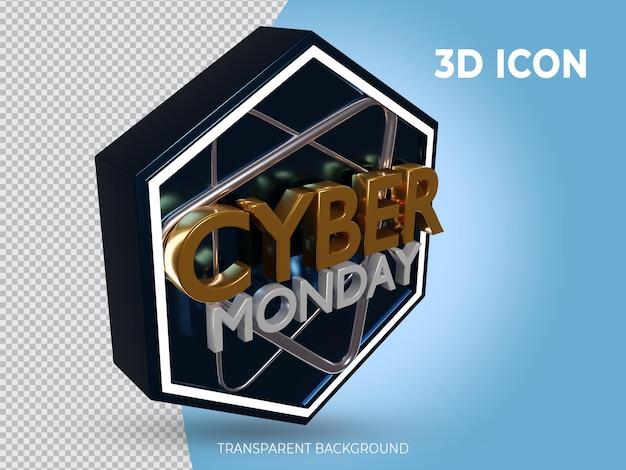 고품질 3d 렌더링 사이버 먼데이 투명 아이콘 상단 측면보기