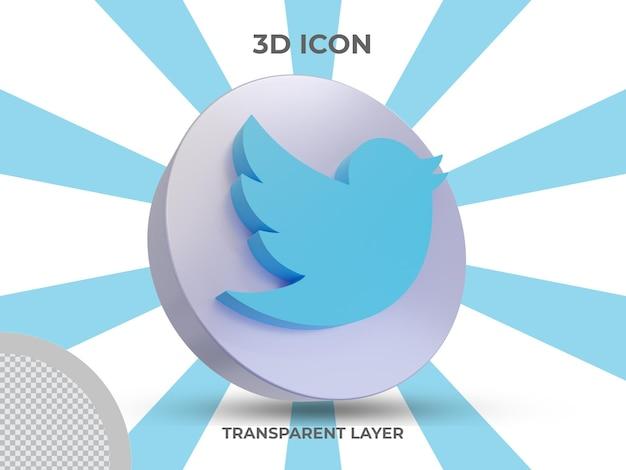 Высококачественная 3d визуализация изолированных значок twitter