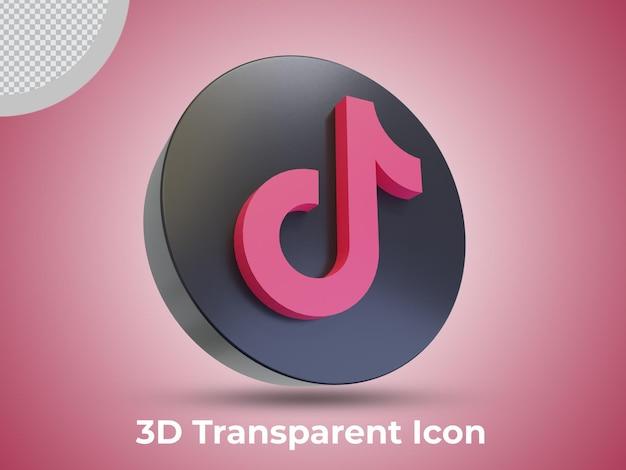 고품질 tiktok 3d 렌더링 아이콘 측면보기