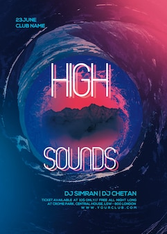 Hight sounds party flyer