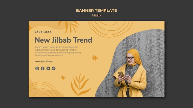 Шаблон баннера концепции хиджаба