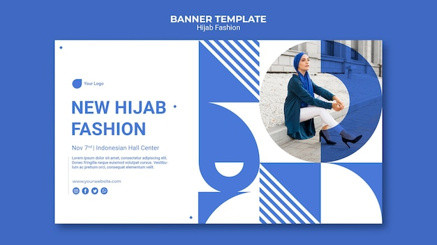 Hijab fashion banner template