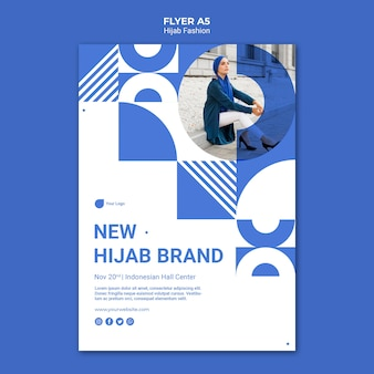 Hijab fashion flyer template with photo
