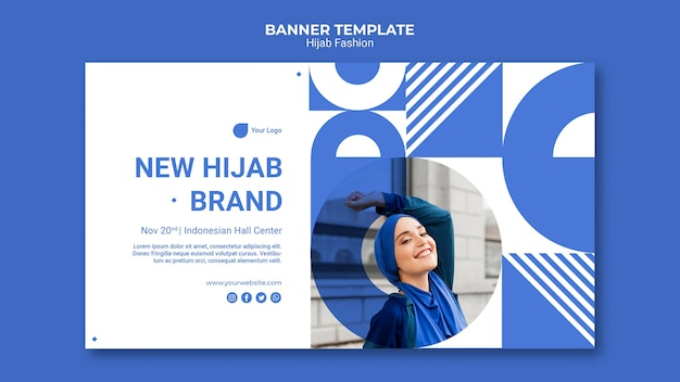 Hijab fashion horizontal banner template with photo
