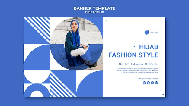 Hijab fashion horizontal banner template
