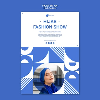 Hijab fashion poster a4 template with photo