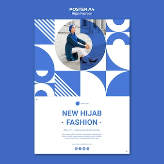 Hijab fashion poster template with photo