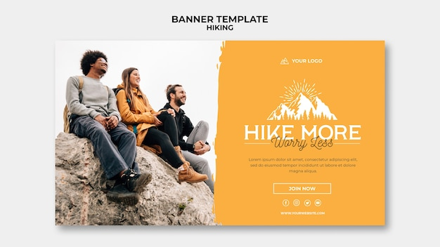 Hike concept banner template