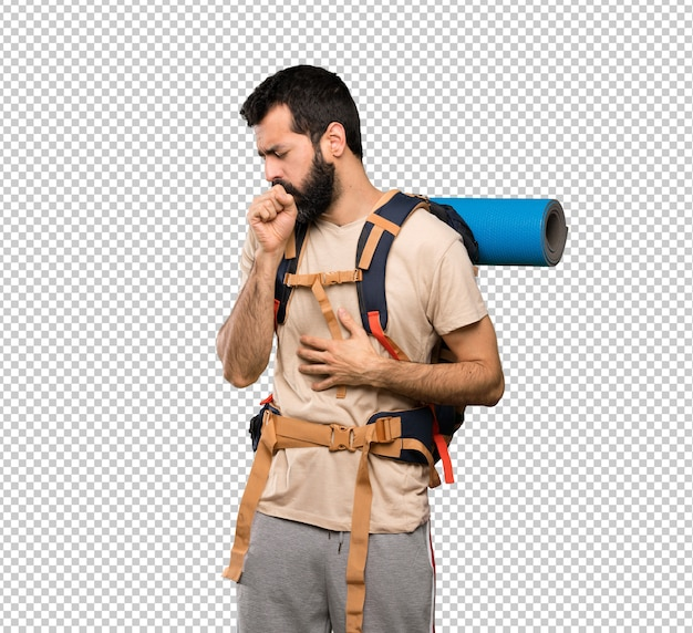 Hiker man is suffering with cough and feeling bad