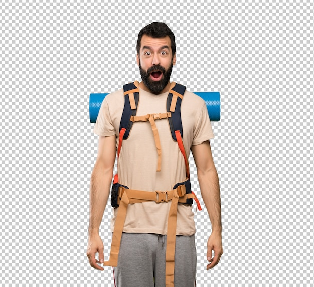 Hiker man with surprise facial expression