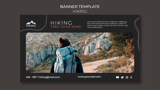 Hiking ad banner template
