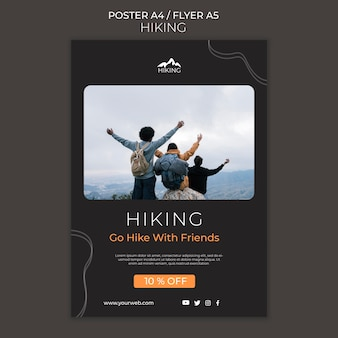 Hiking ad flyer template