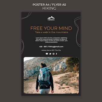 Hiking ad poster template