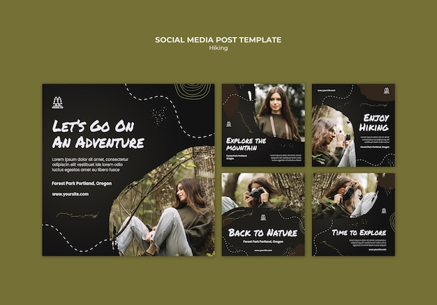 Hiking ad social media post template