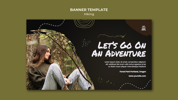Hiking ad template banner